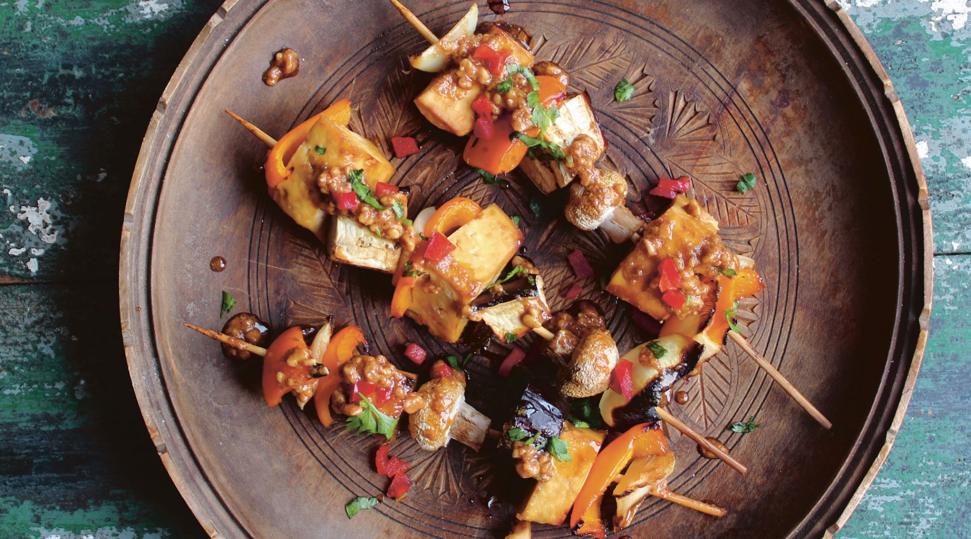 Tofu Skewers with Peanut Sauce